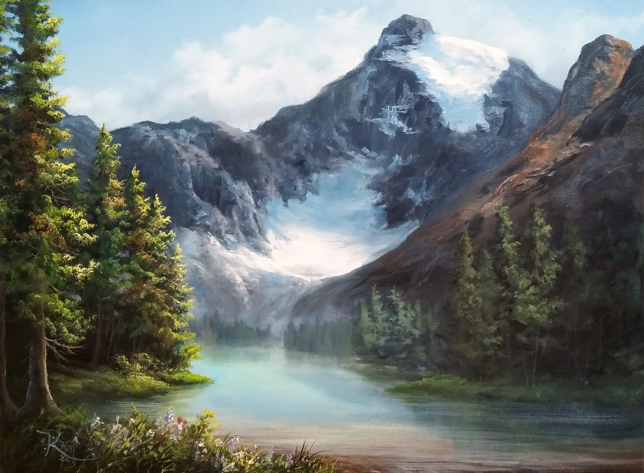 """Canadian Glacier"" by Kevin Hill  Check out my YouTube channel: KevinOilPainting    For more information about brushes, DVDs, events, and more go to: www.paintwithkevin.com"
