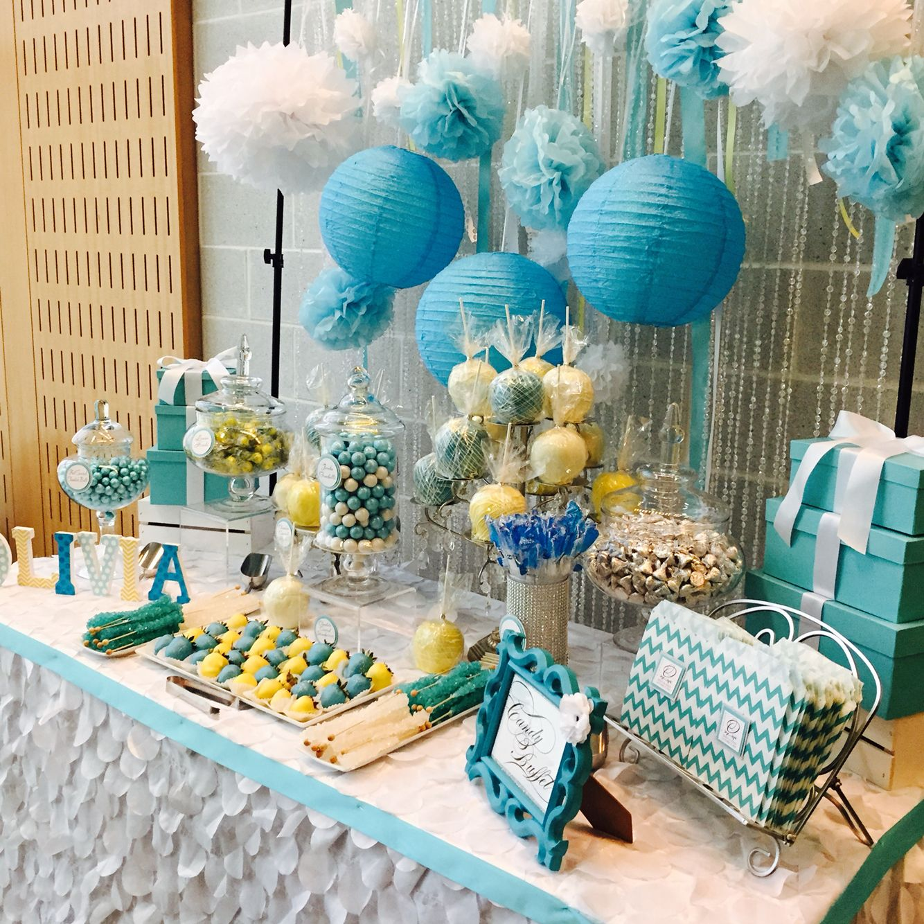 Candy For Baby Shower Ideas: Tiffany Blue, Yellow And White Baby Shower Sweets Table By