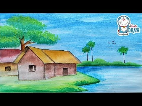 How To Draw Village Scenery Step By Step With Oil Pastels Youtube Scenery Paintings Watercolor Beginner Oil Pastel