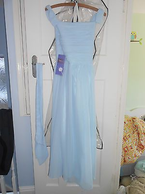#Pale/light/pastel blue #chiffon bridesmaid/prom #dress age 11-12 bnwt,  View more on the LINK: 	http://www.zeppy.io/product/gb/2/322390823959/