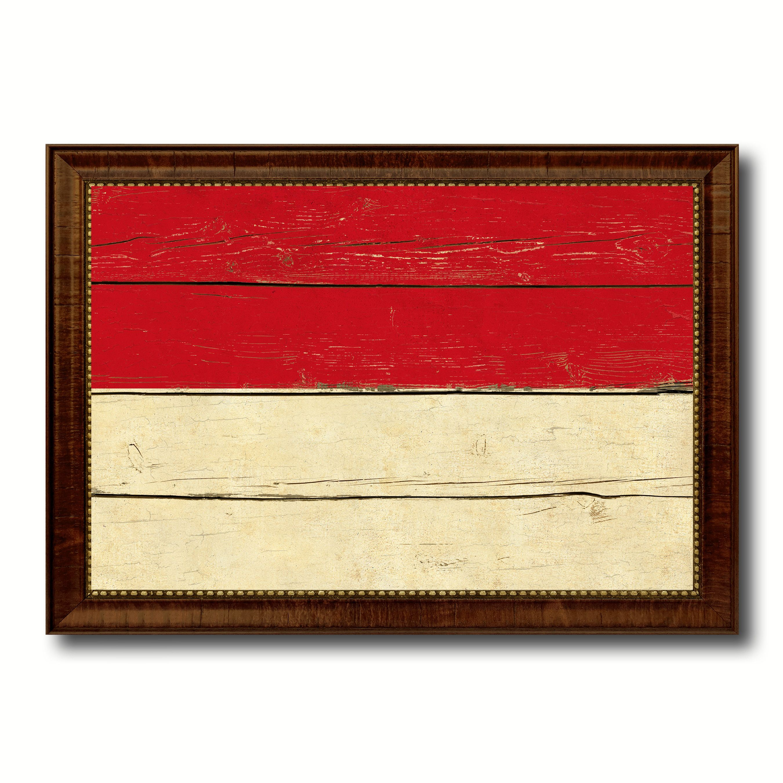 Indonesia Country Flag Vintage Canvas Print with Brown Picture Frame ...