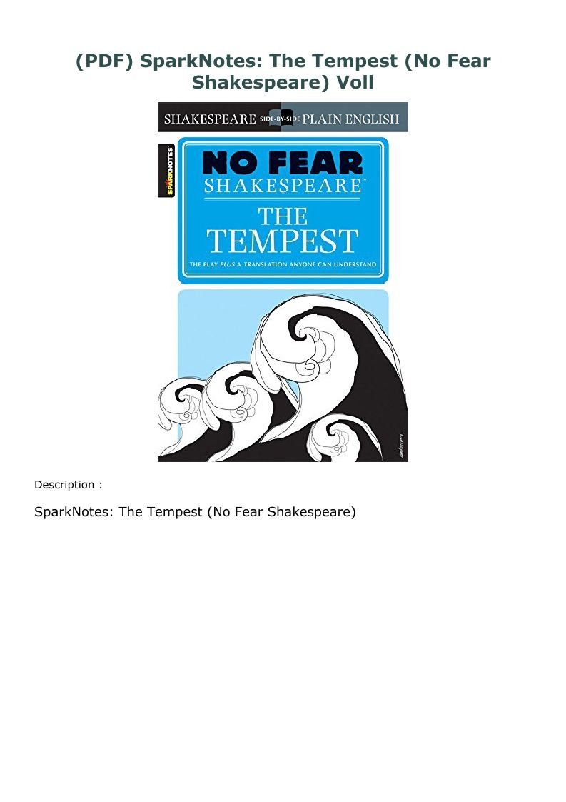 Pdf Sparknotes The Tempest No Fear Shakespeare Voll Tempest List Of Characters Shakespeare