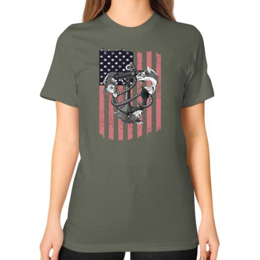 Fisher love american Unisex T-Shirt (on woman)