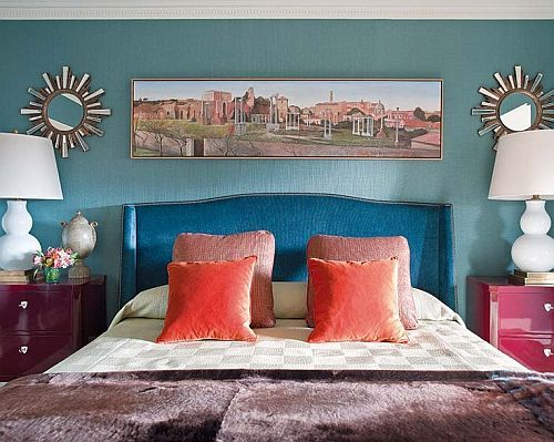Lovely Awesome Coral, Blue And Brown Bedroom