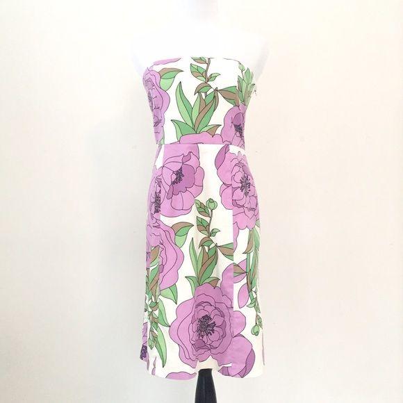 LOFT Strapless Floral Sundress Strapless floral sundress by LOFT.  Hidden side zipper.  97% cotton, 3% spandex.  Lining 100% cotton.  White, purple, green and tan.  Machine wash. LOFT Dresses Strapless
