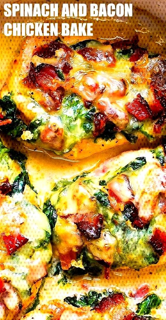 Sun-Dried Tomato, Spinach, and Bacon Chicken recipe – the chicken breasts are seasoned with dry I