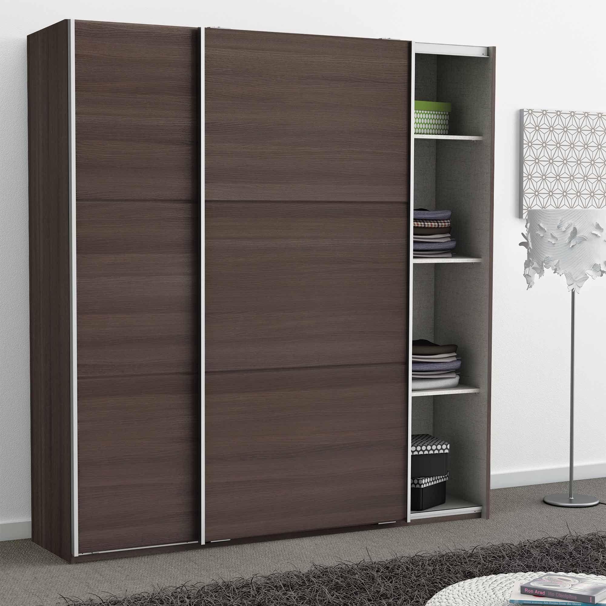 Armoire En Bois 2 Portes Coulissantes Stella Tall Cabinet Storage Transforming Furniture Reupholster Furniture
