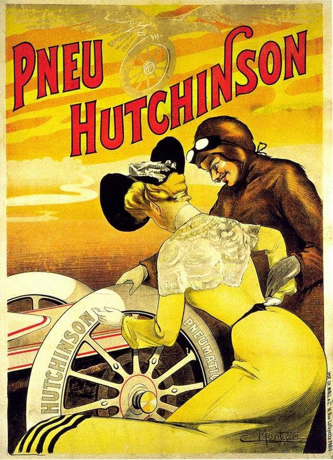Ernest Montaut apportait à cette affiche pour les pneus Hutchinson une touche féminine, dans le même esprit que ce que proposait son contemporaine René Vincent, né lui aussi en 1879.