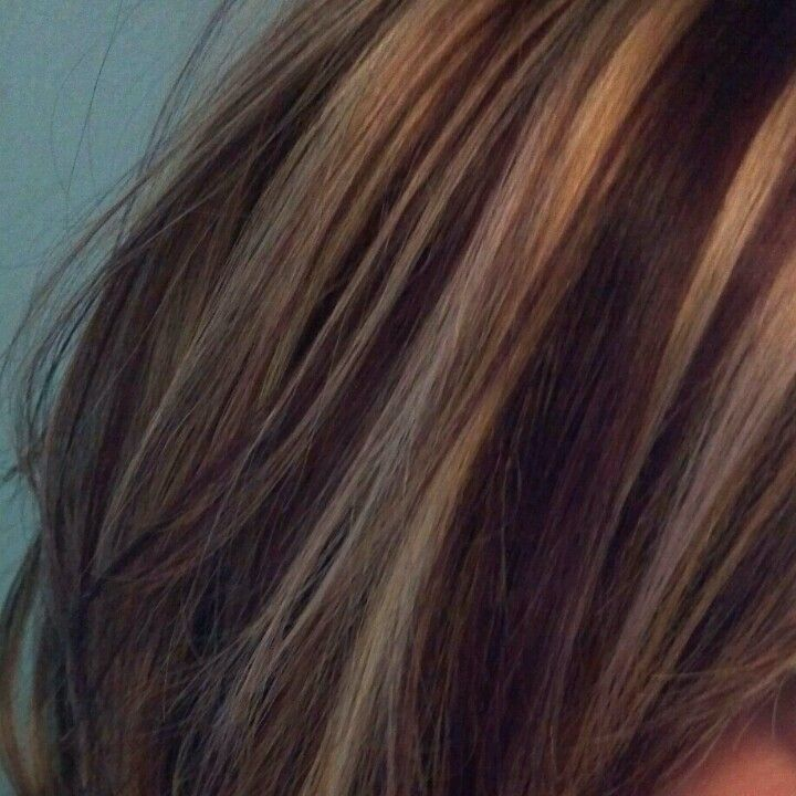 Burgundy Brown With Blonde Highlight Brown Hair With Blonde