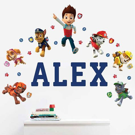 Paw Patrol Personalized Name Wall Decals For Kids Bedroom Walls