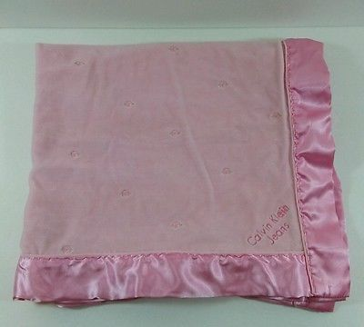 Calvin Klein Pink W Roses Baby Blanket Satin Trim 28x31 B266 Baby Blanket