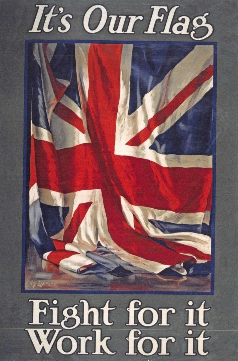 Vintage Poster Postcard, It's Our Flag, Fight for it, Work