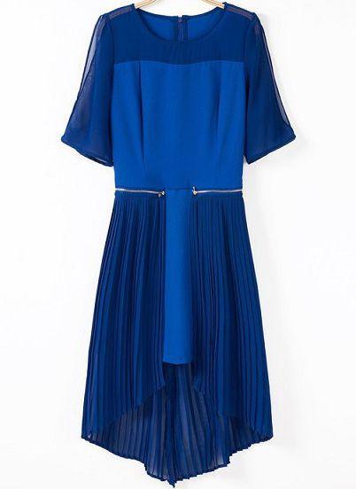 Blue Short Sleeve Zipper Pleated High Low Dress US$35.00