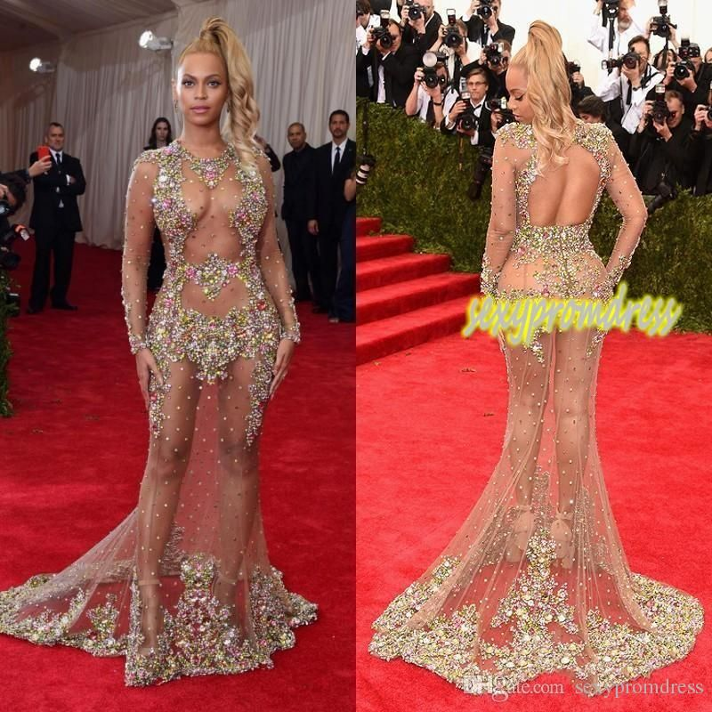 2017 Sheer Beaded Evening Dress Beyonce Met Ball Red Carpet Dresses Nude  Naked Celebrity Gown See Through Formal Wear Sweep Train Backless 6f1933d3a115