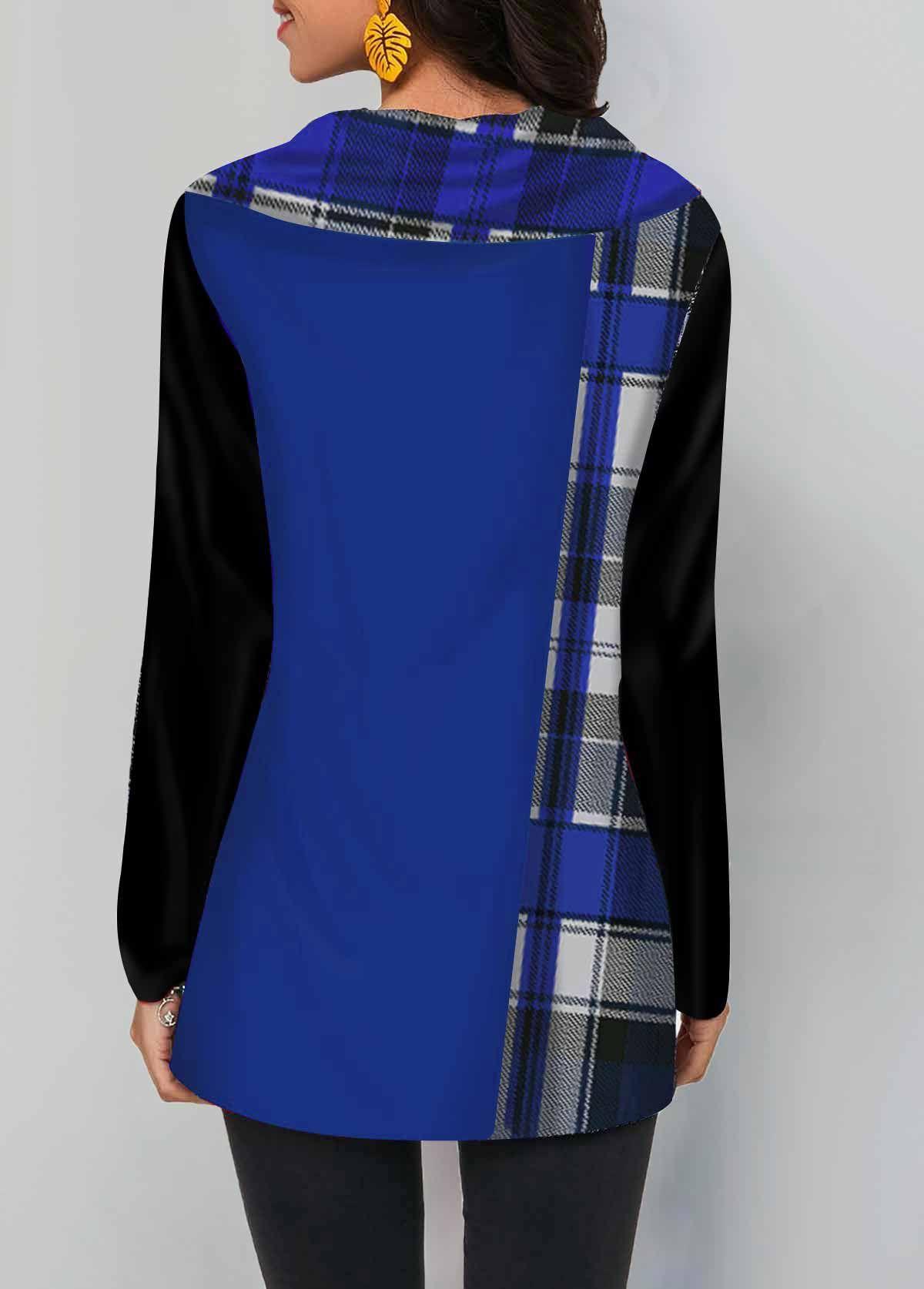 Long Sleeve Plaid Print Button Detail T Shirt Linkshe Com Usd 22 70 Affiliate Print Button Plaid In 2020 Trendy Tops For Women Long Sleeve Plaid Trendy Tops