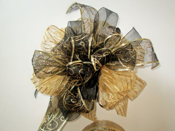 Marvelous On Sale, Black And Gold Christmas Tree Topper Bow, Modern Tree Topper, Black  Christmas Decorations
