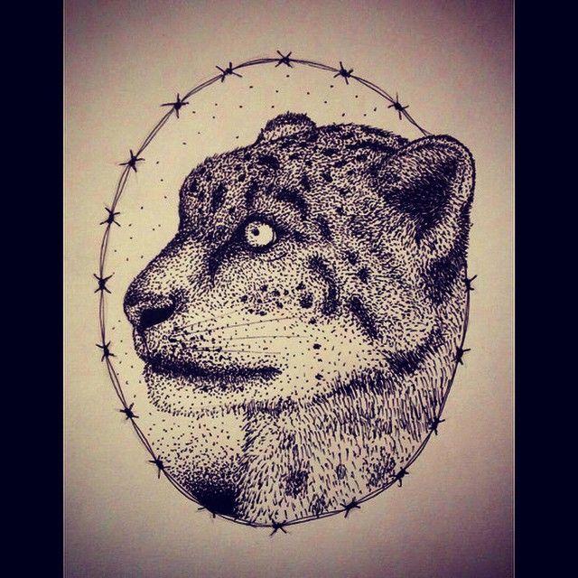 Leopardo #white #black #animal #savana #line #dotwork #dot #follow #followme #drawing #draw #like #ink #tattoo #leopard #feline #cat #illustration