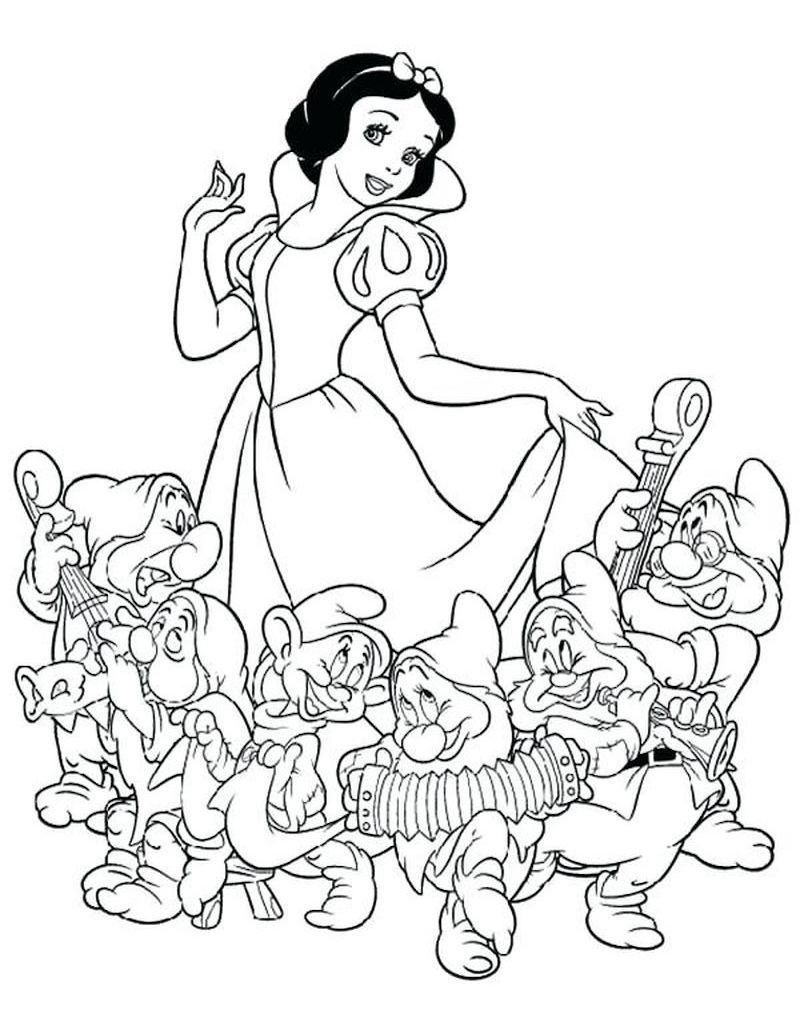 Snow White & Dwarfs Dancing in 2020 Snow white coloring