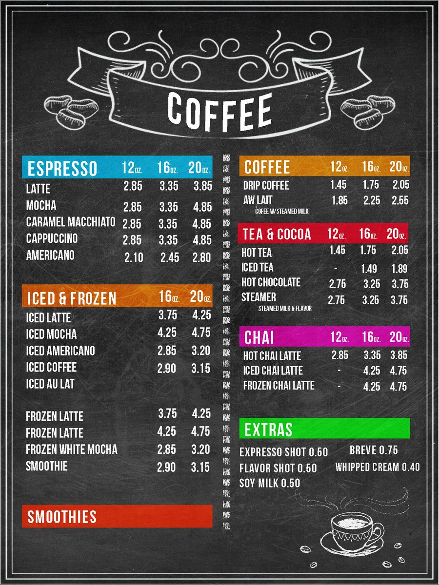 This Is Entry 26 By Avalenti2 In A Crowdsourcing Contest Design Menu Boards For Coffee Shop For 175 Coffee Shop Menu Coffee Shop Menu Board Cafe Menu Boards