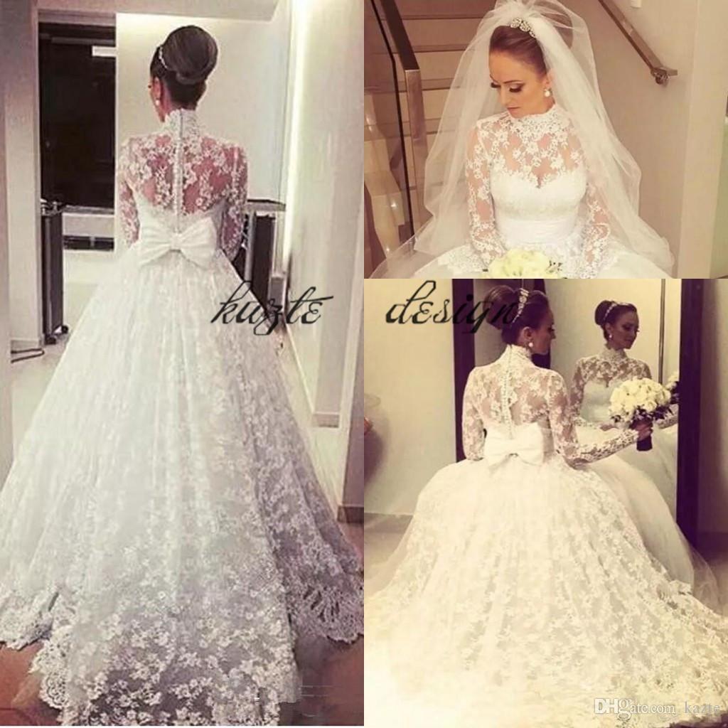 Discountvintage Puffy Lace Skirt Wedding Dresses With Big Bow 2018 High Neck Muslim Hijab Kaftan Caftan Princess Church Long Sleeve Wedding Gown From Kazte 19 Long Sleeve Wedding Dress Lace Wedding [ 1024 x 1024 Pixel ]