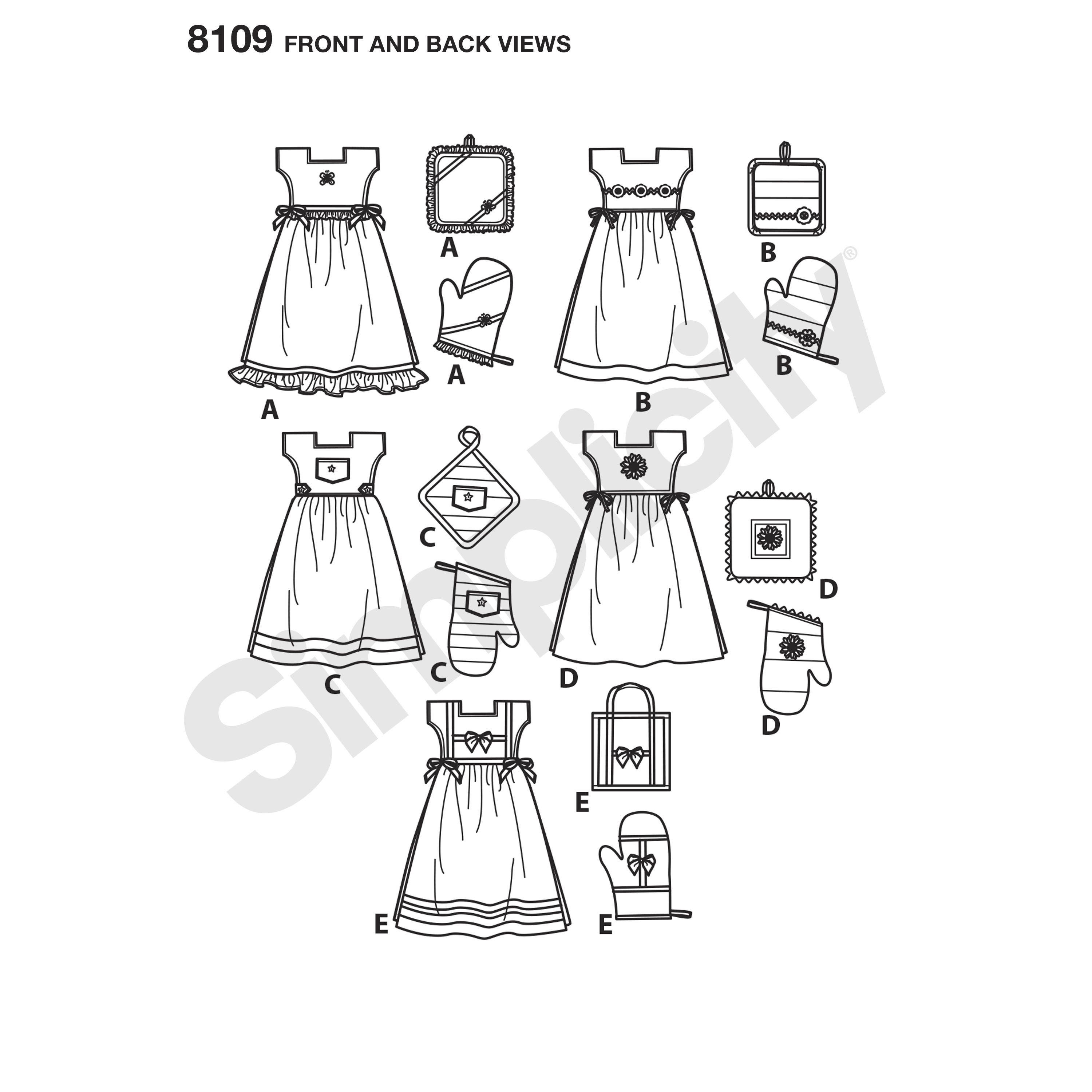 Simplicity pattern towel dresses pot holders and oven mitts