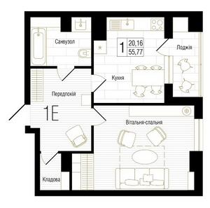ЖК New York Concept House: планировка 1-комнатной квартиры 55.77 м2, тип 1Е