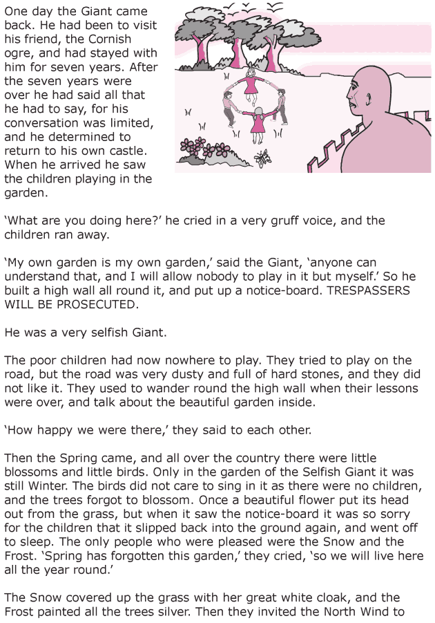 grade 6 reading lesson 20 short stories the selfish giant 1 grade 6 reading lessons english. Black Bedroom Furniture Sets. Home Design Ideas