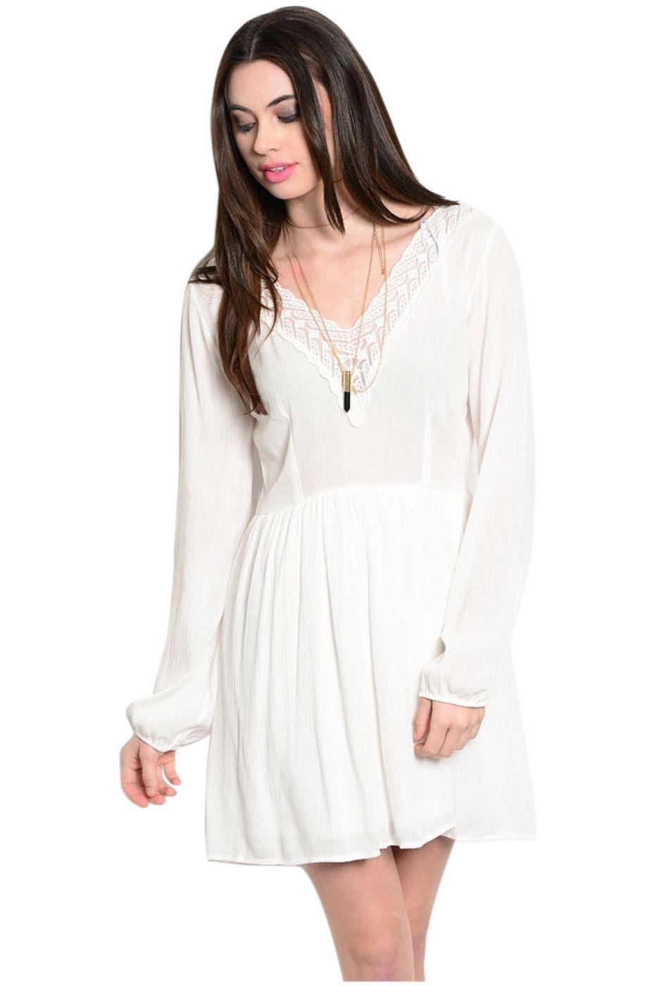 Long Sleeve Lace Trimmed Boho Peasant Dress Peasant Dress Boho Long Sleeve Boho Dress Fit Flare Dress [ 1400 x 932 Pixel ]