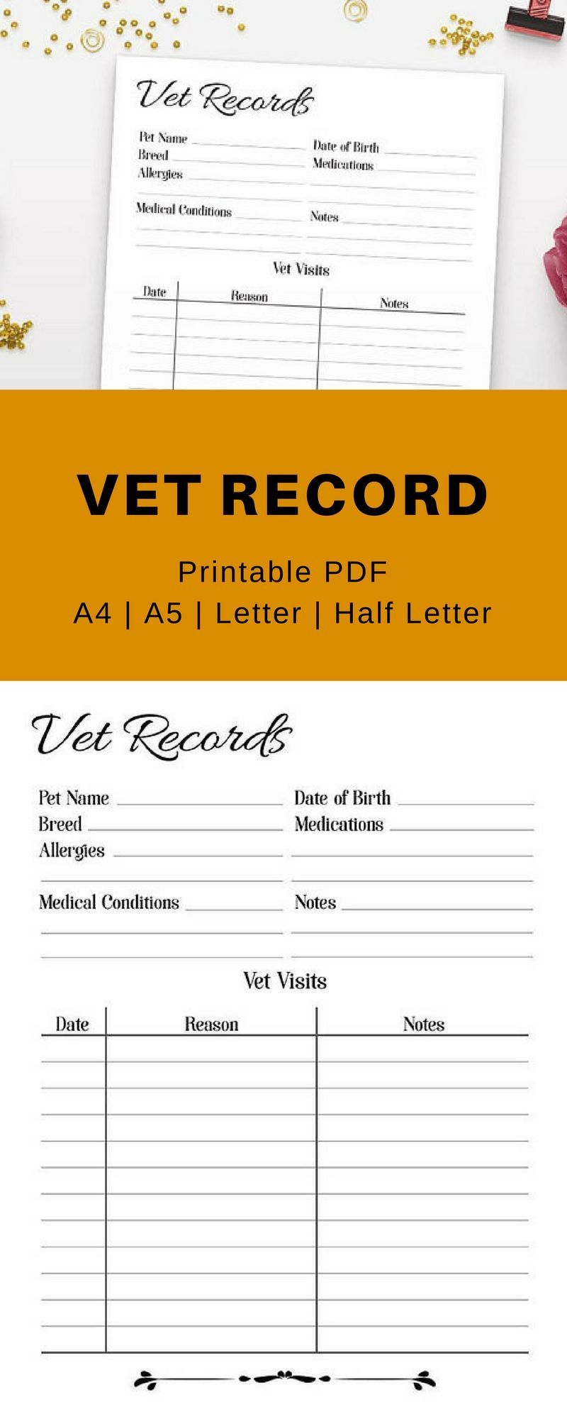 Handy Vet Records Printable This Pet Printable Will Help You To Keep Track Of Your Dog Or Cat S Healthcare Ve Pet Care Printables Pet Health Cat Health Care