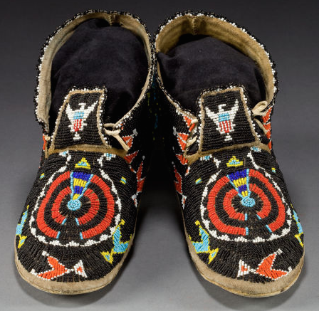 A pair of cheyenne beaded hide moccasins native shoes for Cheyenne tribe arts and crafts