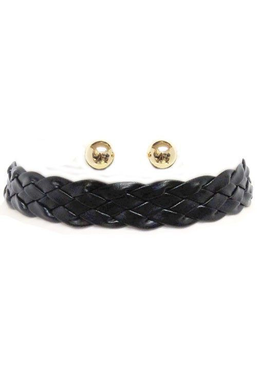 Black Braided Leather Choker