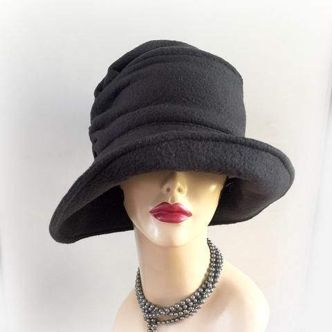 5a84788f4413f Stylish Fleece Cloche - Black Winter Hat - The Alice Cloche - Flapper Style