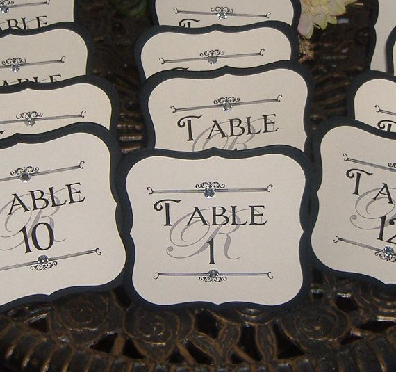 Monogram Table Numbers  Self Standing Tented by wreathartist, $42.00