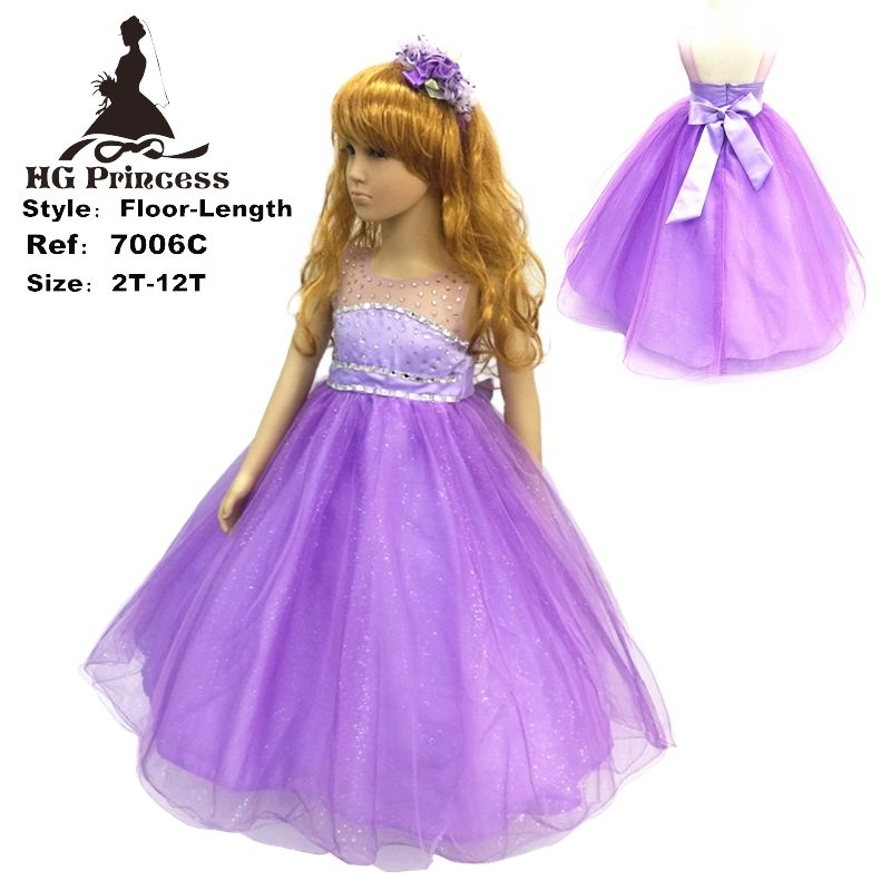 2017 New Arrival Hg 2-12 Years Child Party Dress Tulle Flash Purple ...