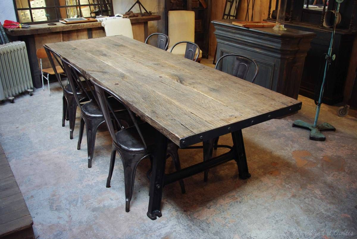 Wood And Metal Industrial Table Le Marchand D Oublis