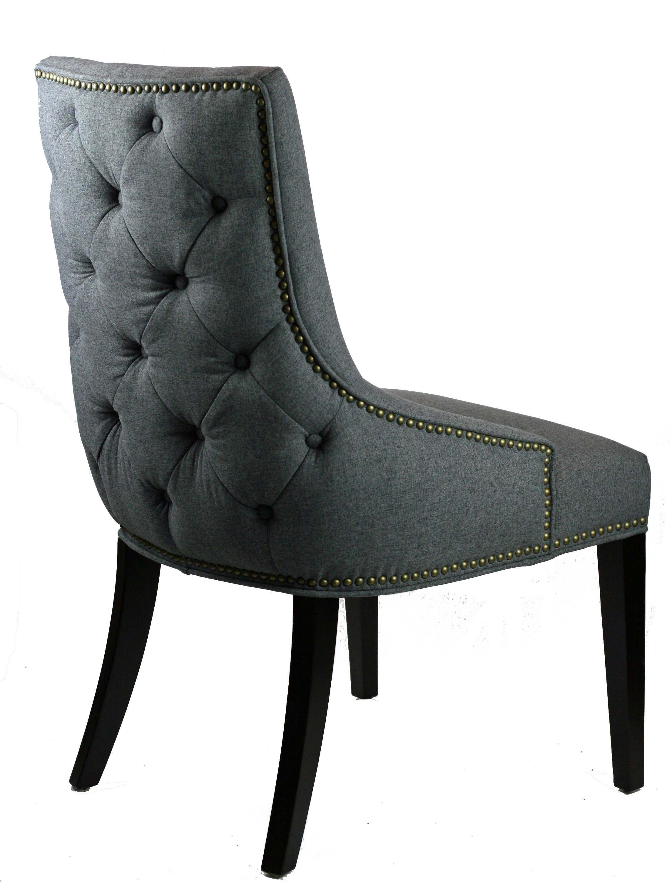 R 1355 Tufted Back Grey Dining Chair With Antique Brass Nail Head