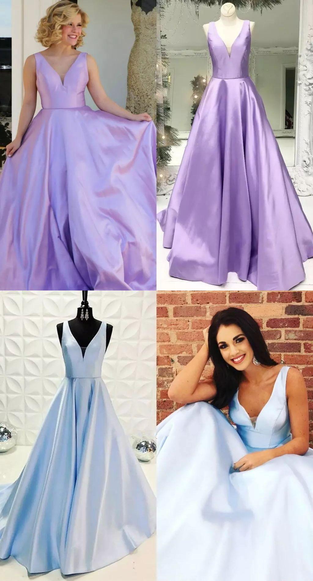 Aline vneck backless light sky blue satin prom dress with pockets