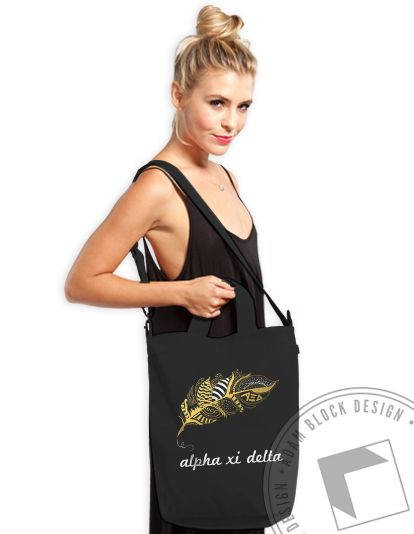 Alpha Xi Delta - Gold Feather Tote - $30 - Available until 3/16