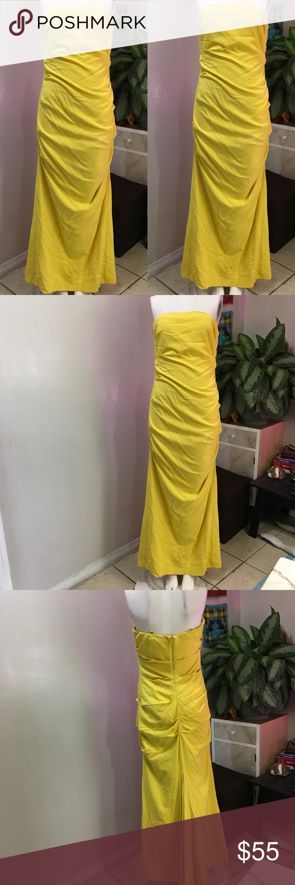Nicole miller sz l yellow gown silk dress yellow gown nicole