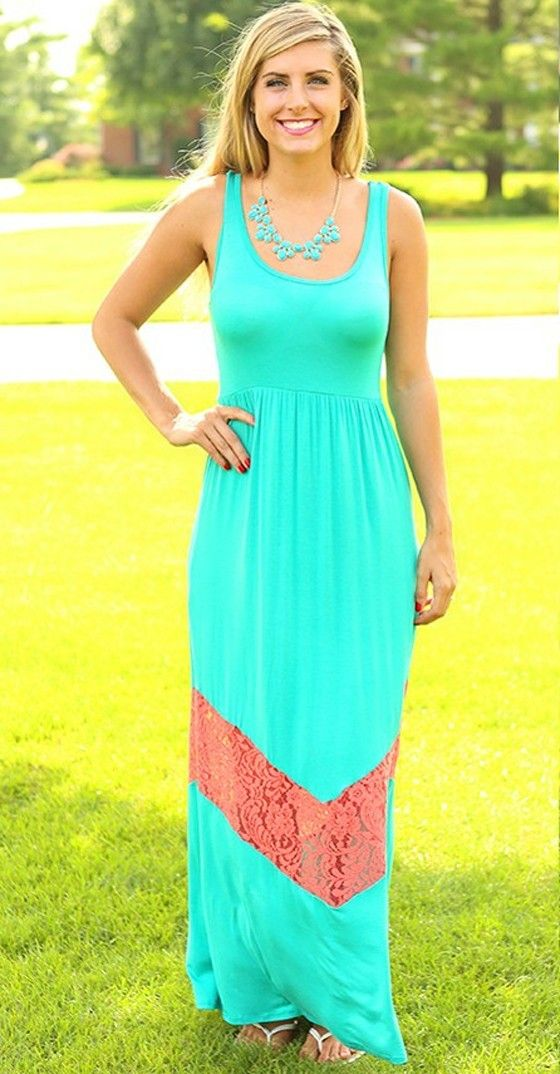 #Farbbberatung #Stilberatung #Farbenreich mit www.farben-reich.com Green Patchwork Shoulder-Strap Backless U-neck Floor length Dress