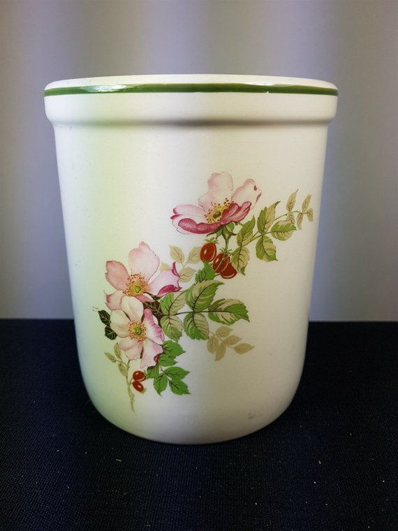 Vintage T G Green Kitchen Utensil Holder Crock Beige And With Pink Dogwood Flowers Ceramic Po