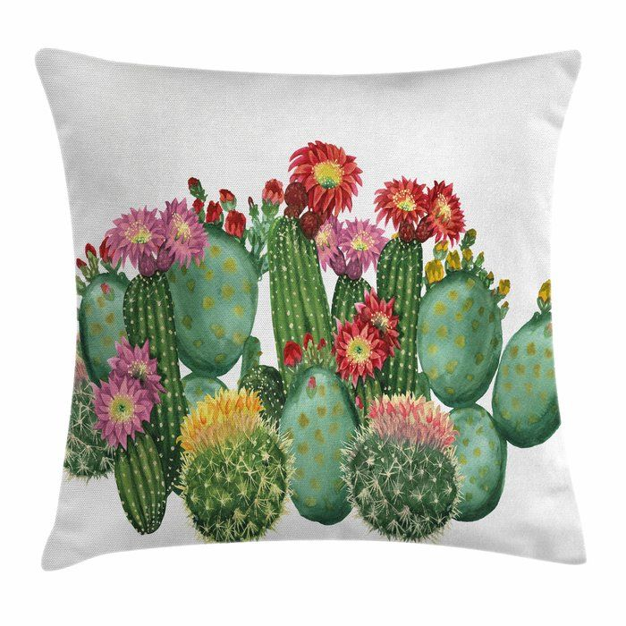 Cactus Saguaro Tropical Square Pillow Cover Children's room