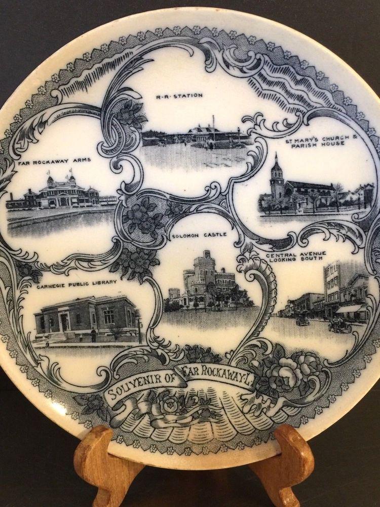 Antique Transferware Plate Queens NY Far Rockaway Souvenir Made England Rare #ArtNouveau #Unknown & Antique Transferware Plate Queens NY Far Rockaway Souvenir Made ...