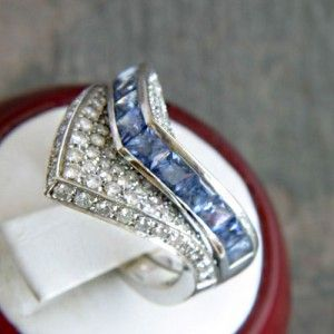 Designer Contemporary 18k White Gold Blue Sapphire & Diamond Ring By Oro Trend Italy