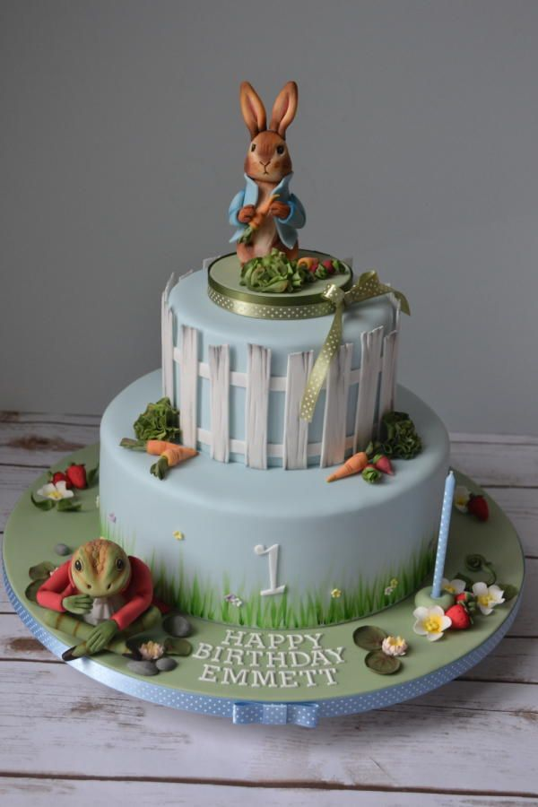 Peter Rabbit and friends 1st birthday cake baby sprinkle