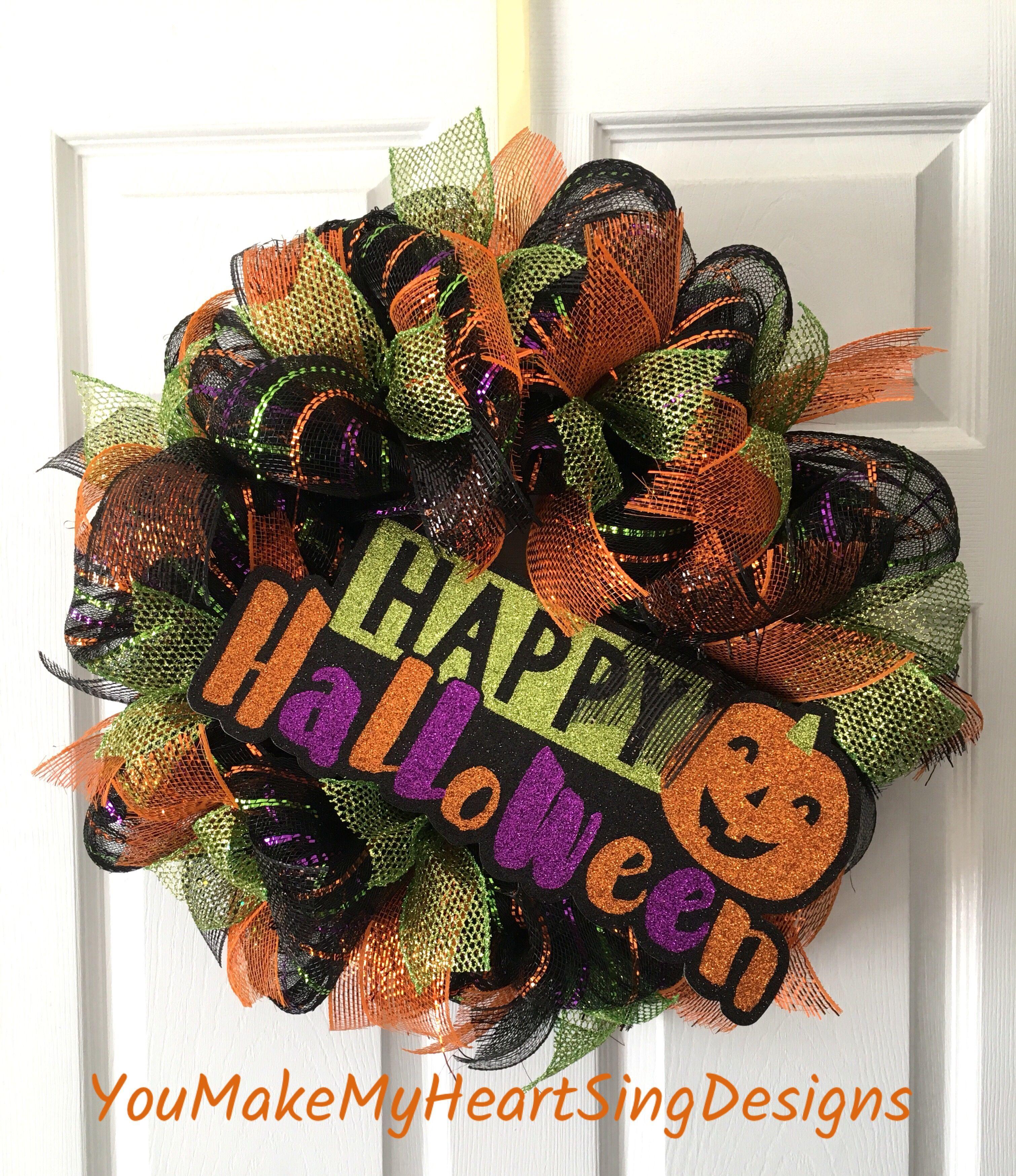 Happy Halloween Halloween decorations, Wreaths for sale