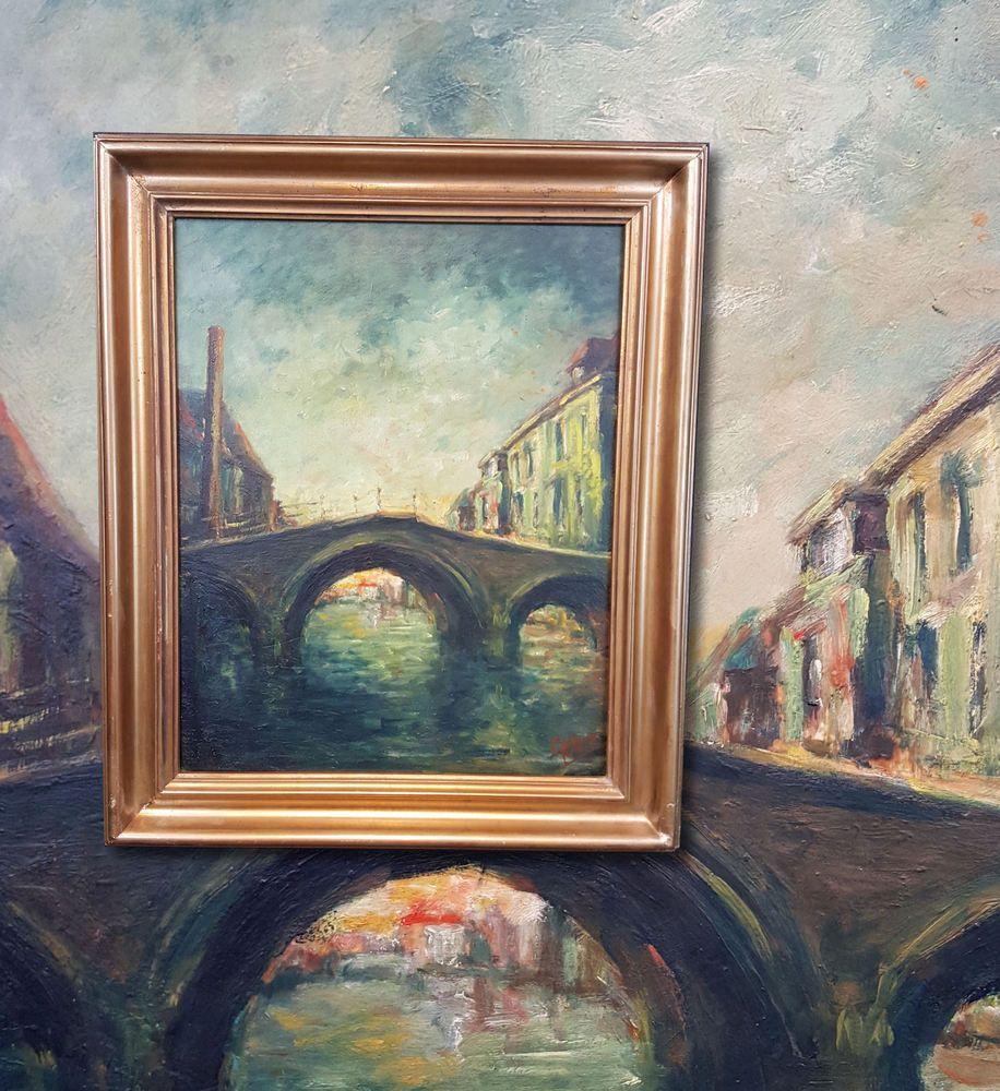 Holländische Grachten mit Brücke. Original Impressionismus Ölgemälde, signiert