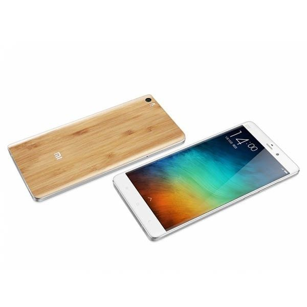 Xiaomi Mi Note Bamboo Edition smartphone use 5.7 inch FHD screen, with Snapdragon 801 quad core CPU, 3GB RAM + 64GB ROM, has 13MP rear + 4MP front double camera, installed MIUI V6 OS.