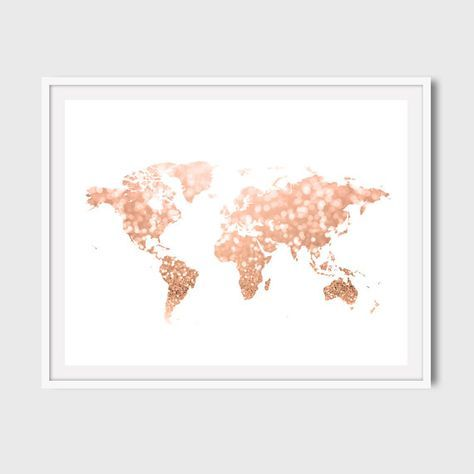 Rose gold world map print Pink and gold map art Travel ...