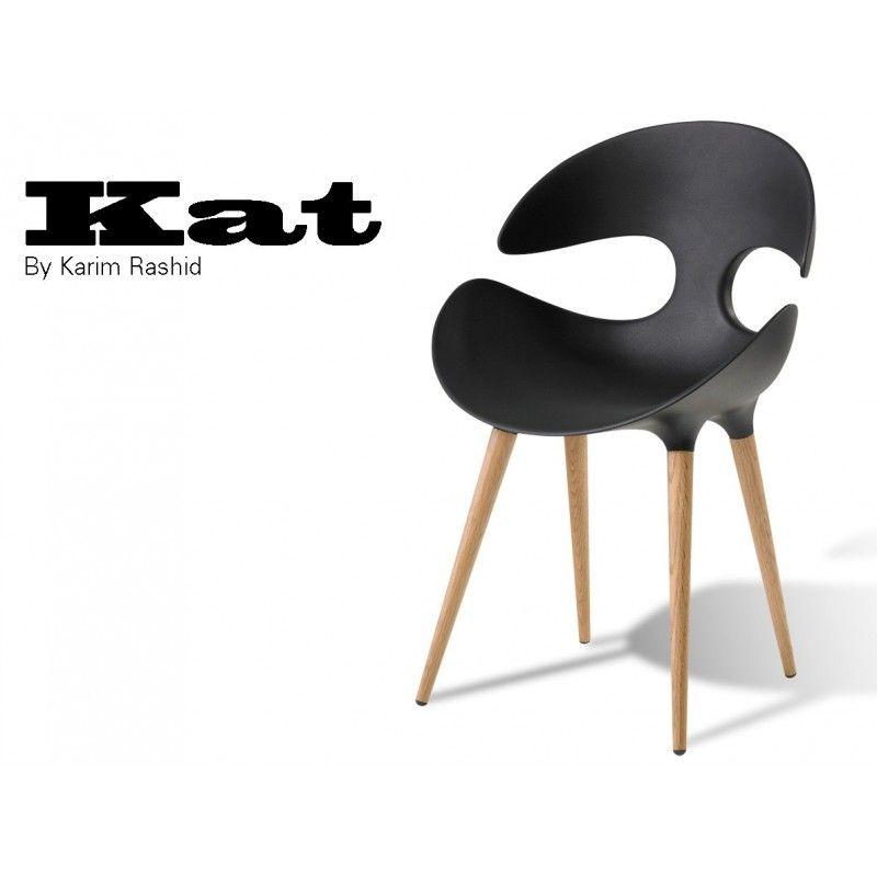 KAT Chaise Design Pieds En Bois Conique Structure Technopolymère - Chaise design